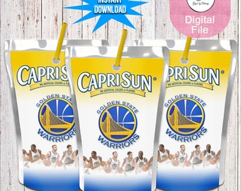 INSTANT DOWNLOAD-Golden State Inspired Juice Pouch-Warriors Juice Pouch Labels-Custom Juice Labels-Warrior Party