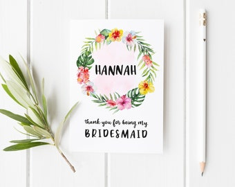Thank You For Being My Bridesmaid, Card For Bridesmaid, Tropical Bridesmaid Card, Maid Of Honor Card, Tropical Wedding Card, Summer Wedding