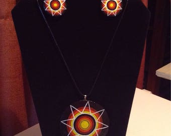 Choctaw fire star medallion gourd necklace and earring set