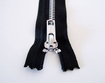Black, silver, zipper YKK, not separable, 25 cm and 35 cm