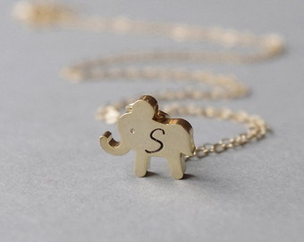 Gold Elephant Necklace, Little Girl Necklace, Elephant Initial Necklace, Personalized Gift, Kids Jewelry, Fairytale Gift, Coworker Gift