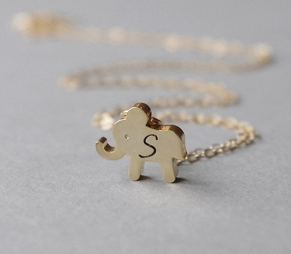 Gold elephant necklace little girl necklace elephant initial aloadofball Gallery