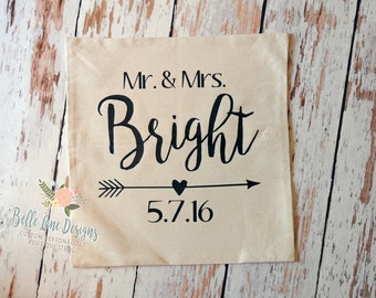 "Mr. and Mrs. Pillow Cover with Wedding Date and Arrow 18""x18"" with Insert 