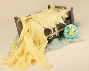 Photo Prop Set for newborns and babies, Yellow, Curly Wool blanket layer, wraps, & headbands.