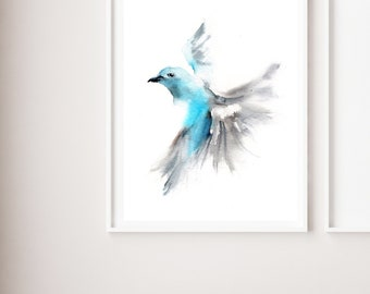 Art Print of Flying blue tanager, watercolor painting print, bird print, art print, wall decor bird print