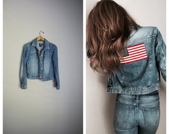vintage 90s polo ralph lauren denim jean jacket with embroidered flag patriotic -- womens small