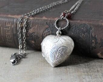 Photo Locket Necklace, January Birthstone Locket, Garnet Locket, Sterling Silver Locket, Silver Heart Locket Pendant, Oxidize Silver Jewelry