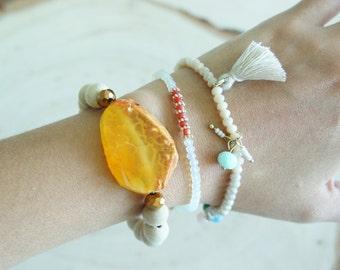 Tassel bracelet, Gemstone Agate Bracelet, Wood Beaded Bracelet, Set of 3 Bracelets