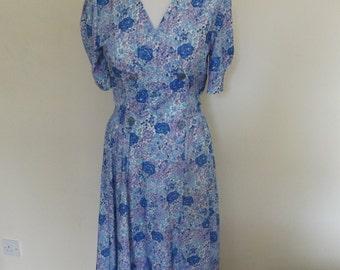 vintage 80s st michael blue floral summer dress 10 small