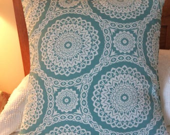 20 x 20 Outdoor Pillow Cover, Aqua and White Pillow Sham, Large Patterned Pillow Cover