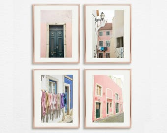 Pink Prints Decor Art Set of 4 // Prints Boho Decor Pink // Blush Wall Art Set of 4 // Gallery Wall Prints // Pink Photography Set