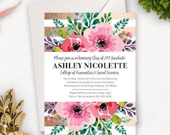 College-Abschluss Einladung Vorlage / Floral Graduierung Ankündigung / Graduation Party Einladungen druckbare