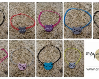 cat  bracelet on cotton thread