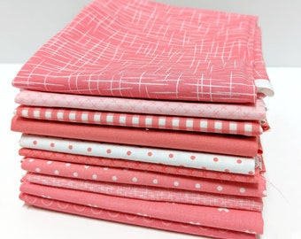Coral Pink Fat Quarter Bundle - 10 FQ's