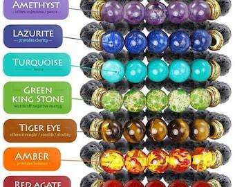 8 MM Lava Rock Beads Yoga Healing Reiki Prayer Mala Charm Strand Bracelet