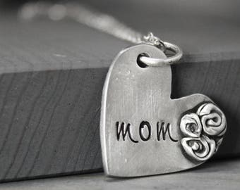 Mom Necklace, Mother Necklace, Heart Necklace, Rose Necklace, Mother's Day Gift, Gift For Mom, Hand Stamped Jewelry, Personalized Jewelry,