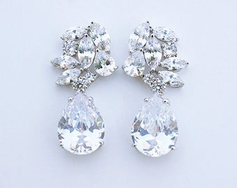 Lucie - Cubic Zirconia Wedding Earrings, Bridal Earrings, Teardrop Earrings, Crystal Drop Earrings, CZ Bridal Jewelry