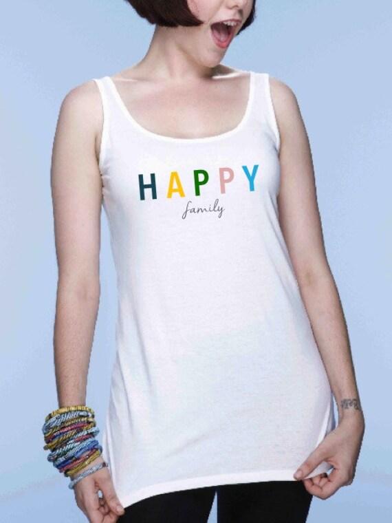 Round neck women t-shirt HAPPY