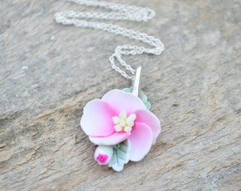 Cherry flower necklace; polymer clay and sterling silver