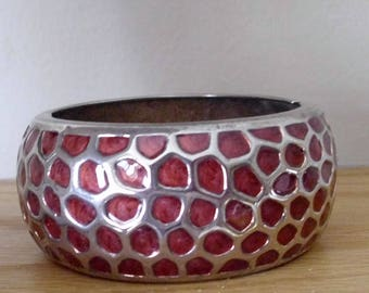 Vintage Red Enamel and Silver Tone Spring Hinged Cuff Bracelet