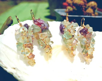 Crystal Fluorite Grape Gold Plated Cluster Earrings Healing Crystal, Druzy, Boho