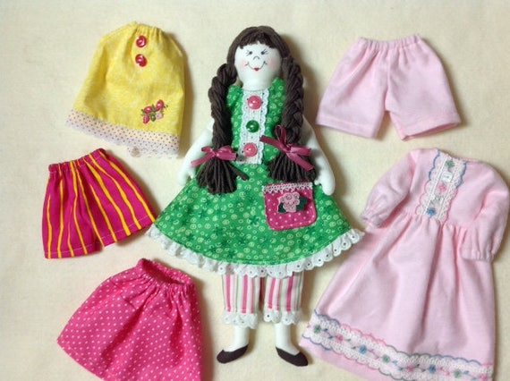 "Dress Me Up Dolly - Cloth Doll E-Pattern 14"" Dress Up Doll"