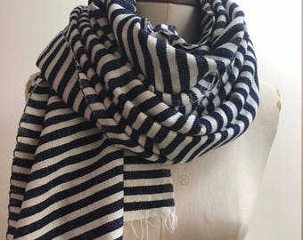 Mens Wool scarf - Navy White Striped Wrap - Chunky Scarf Mens Oversized Winter Blanket - Organic Cotton Wool Shawl - Mens Gifts Handmade UK