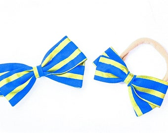 Blue and Gold Hair Bows - Stripe Hair Bow - Nylon Headband and Hair Clips for Girls