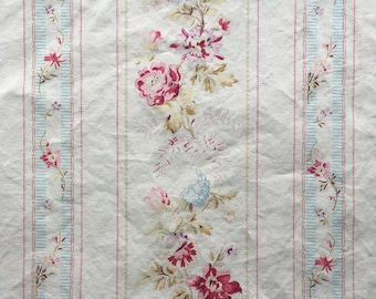Cotton Vintage Sheet Fabric / Floral Wallpaper Stripe / Pink Blue Purple Green Cream / Cottage Shabby Chic Farmhouse Decor / Quilting Sewing
