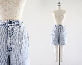 washed denim stripe shorts
