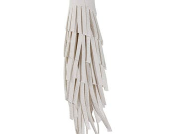 Large Faux Leather Tassels in White - 2 pieces