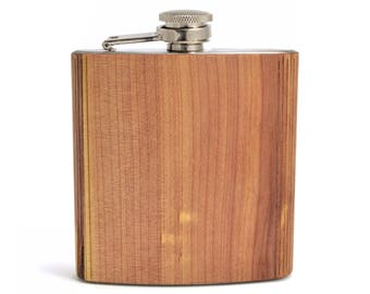 Custom Wooden Flasks | Wooden Groomsmen Flasks | Bulk Custom Logo Flasks | Handmade Cedar 6 oz. Hip Flask for Groomsmen