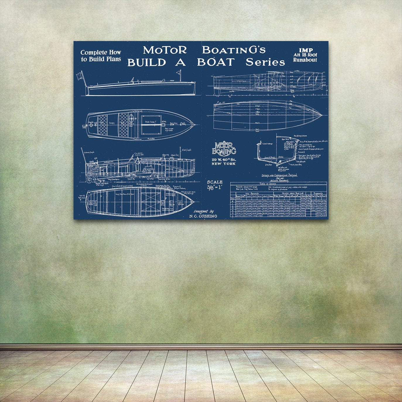 Print of vintage imp boat blueprint from motor boatings build a print of vintage imp boat blueprint from motor boatings build a boat series on your choice of matte paper photo paper or canvas malvernweather Image collections