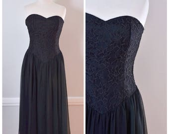 Vintage Dress / 90s Dress / Party Dress / Strapless Dress / Prom Dress / Black Dress / Lace and Chiffon Dress / LBD / Fit and Flare / Small