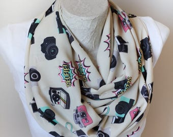 Camera Scarf Camera Infinity Scarf Selfie Scarf Photographer Gift for Her Artist Gİfts Photography Accessories