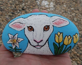 Easter Lamb Lily Tulips Painted Rock, Easter Painted Rock, Easter Decoration