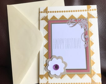 Happy Birthday Greeting Card, Gold, Cream, Flower, Blank Inside