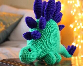 Crochet Stegosaurus Amigurumi / Green & Purple / Dinosaur Stuffed Toy