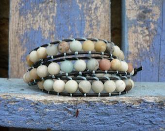 Wrap bracelet, bohemian style, bracelet leather bracelet and beads
