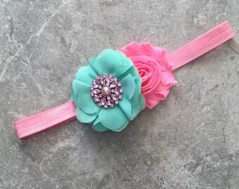 Pink mint headband, Baby Hair Bow, flower headband, baby headbands, shabby chic roses, baby girl headband, hair bows, pink mint flower