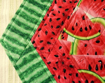 Quilted Reversible Octagon Candle Mat, Table Topper, Watermelon Slices, Watermelon with Seeds & Watermelon Skin, Handmade Table Linens
