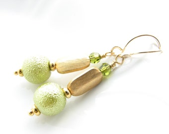 green and gold dangle earrings with gold vermeil rectangle beads and light green glass beads