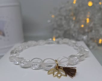 Crystal quartz flat oval beaded bracelet with 14ct gold vermeil lotus flower charm and mini tassel
