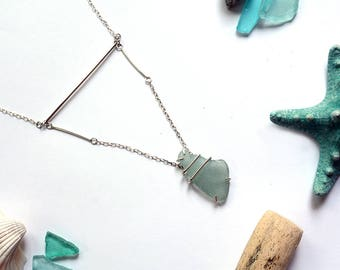 Beach Glass Necklace - Sea Glass Necklace - Silver Necklace - Large Sea Glass Pendant Sea glass and Sterling Silver Statement Necklace 2109