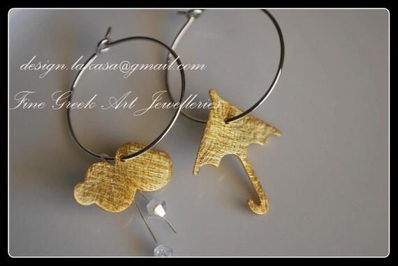 Umbrella Cloud Swarovski Crystals hoop earrings Sterling Silver Gold plated Handmade Jewelry Greek Art Best Gift Ideas for her Woman Girl