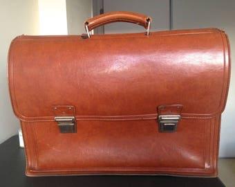Vintage Authentic Leather Briefcase / Laptop Bag