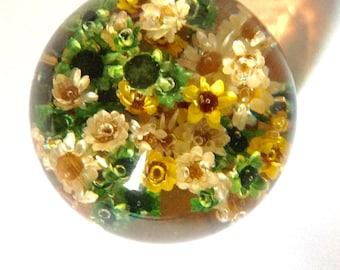 Vintage lucite Daisyglas paperweight real flowers 70s era boho hippie