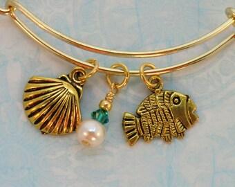 SALE! Fish, pearl and shell charm stackable bangle, boho gold and Capri blue pearl seashore bracelet, ocean bangle, beach, fish jewelry