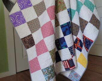 Patchwork Quilt, Twin Size Quilt, Upcycle Quilt, Handmade Quilt, Vintage Fabric Quilt, FREE SHIPPING!