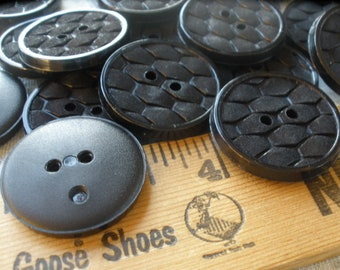 """24 Textured Honeycomb pattern Black Plastic shiny rim Buttons 1"""" (25MM) coat style 2-hole sew on Great for all kinds of crafts 40L"""